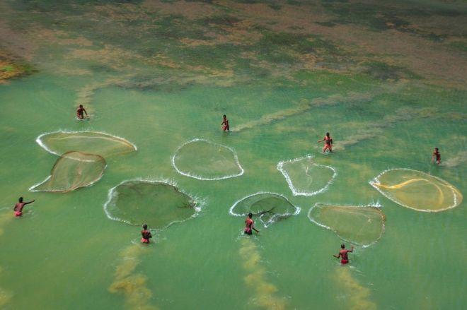 Bir nehirde ağlarını seren balıkçılar