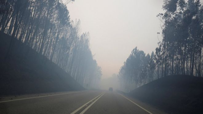 Smoke is seen on the IC8 motorway during a forest fire near Pedrogao Grande, in central Portugal, June 18, 2017
