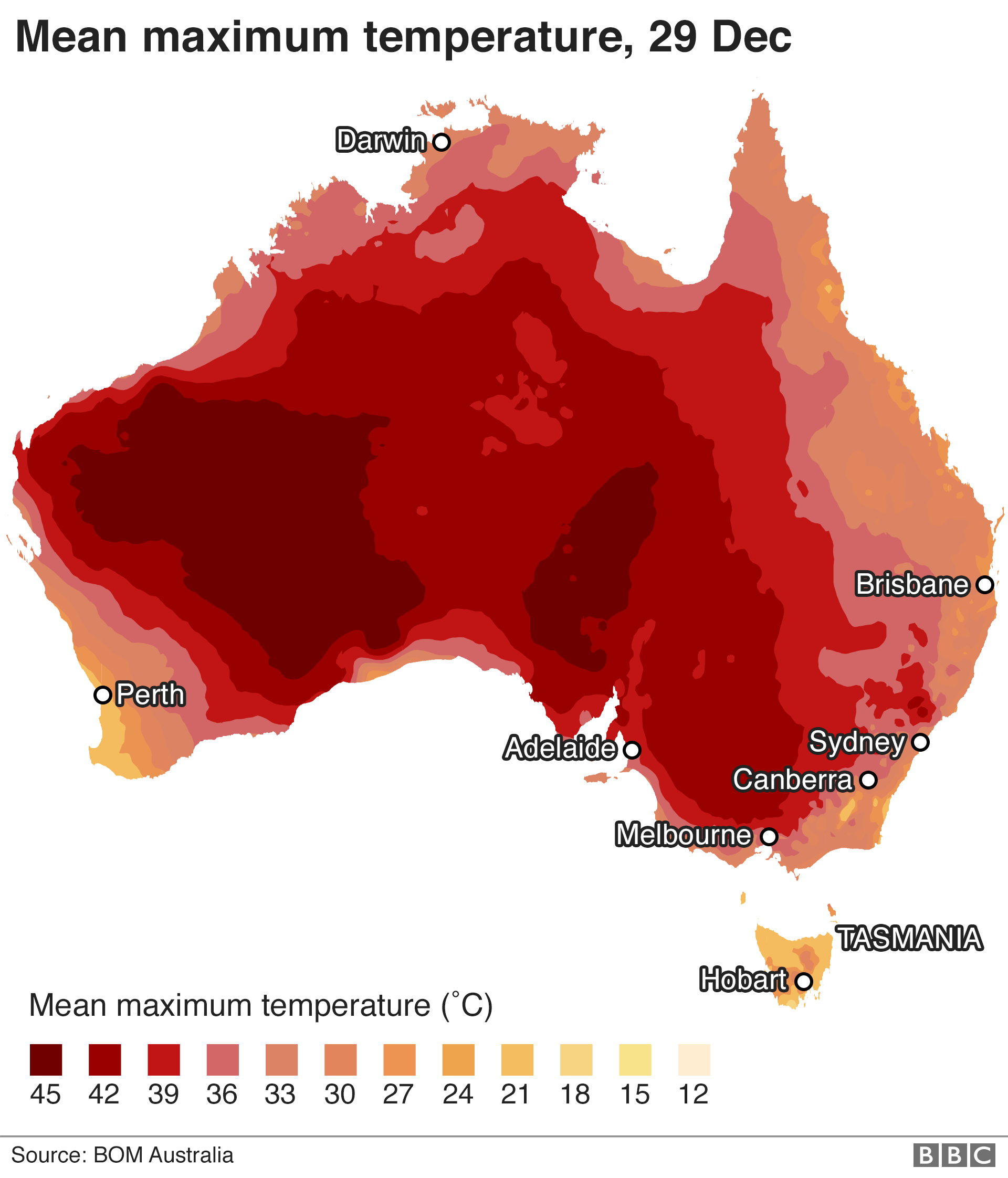 Map showing mean maximum temperatures across Australia for 29 December 2019