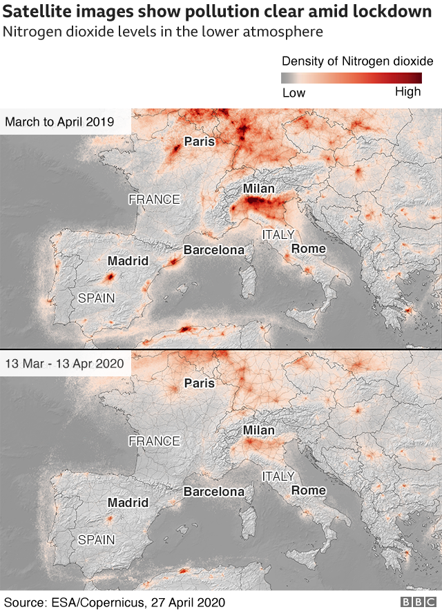 Satellite images of the European skies, showing the levels of Nitrogen Dioxide in March-April 2019 and March-April 2020