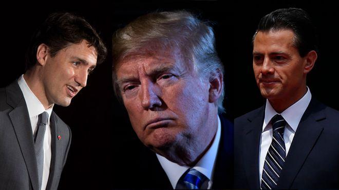 Justin Trudeau, Donald Trump y Enrique Peña Nieto