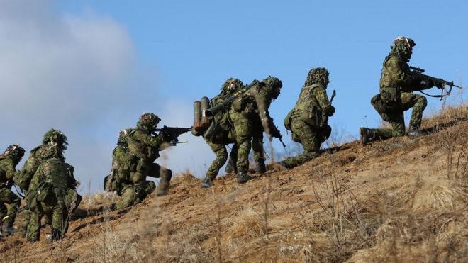 Estonian soldiers in a Nato exercise