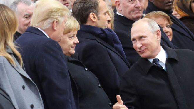 Путин Трамп и Меркель
