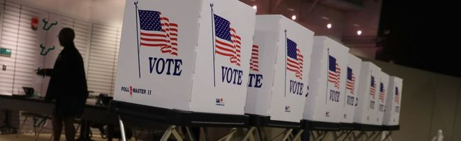 Voting booths are setup at the Yuengling center o­n the campus of University of South Florida