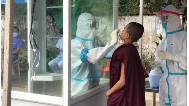 သင်္ဃန်းကျွန်းမြို့နယ် စွန်းလွန်းဂူ ကျောင်းတိုက်ရှိ သံဃာများရဲ့ ဓာတ်ခွဲနမူနာများရယူ