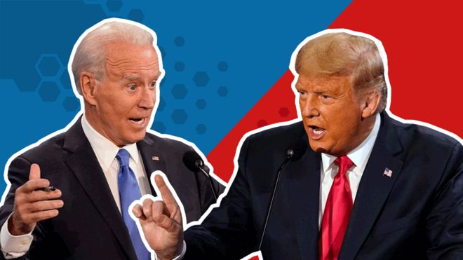 Biden t Trump debatiendo