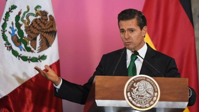 Президент Мексики Энрике Пеин Ньето выступает в Национальном дворце в Мехико 9 июня 2017 года