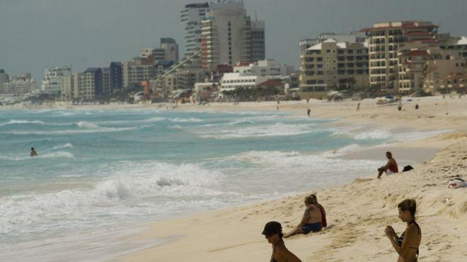 Cancun'daki bir sahil