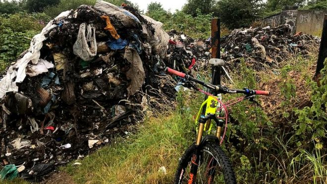 Fallowfield Loop cycling route blocked by 'huge mountain of