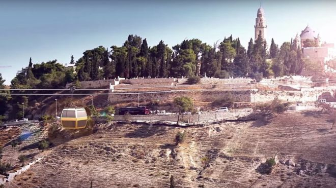Screengrab of promotional video showing planned cable car going through Jerusalem's Old City