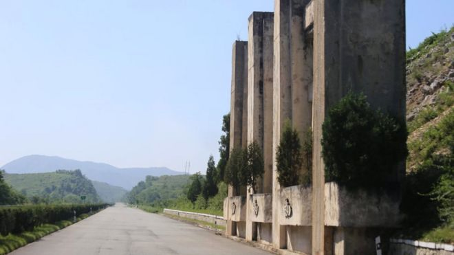 A tank trap on a North Korean road