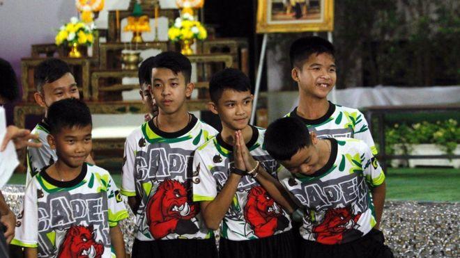 Niños rescatados de la cueva de Tailandia