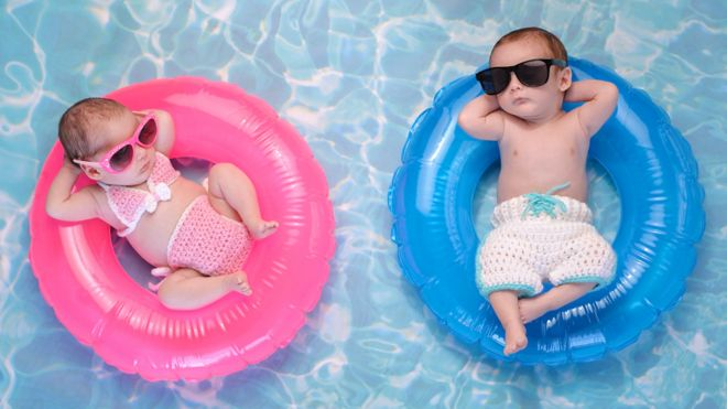 Babies in swimming pool