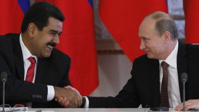 Nicolás Maduro, presidente de Venezuela, y Vladimir Putin, presidente de Rusia.