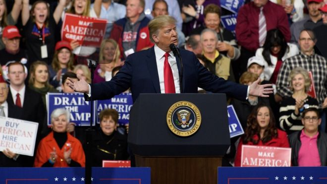 President Donald J. Trump speaks to supporters at the Atlantic Aviation Hanger on March 10, 2018 in Moon Township, Pennsylvania