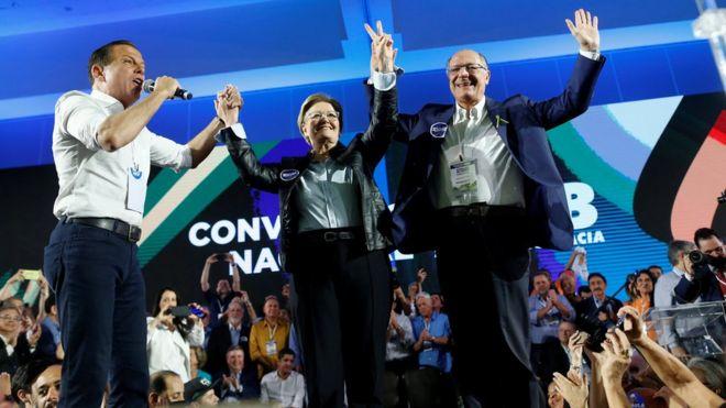 João Doria, Ana Amélia e Geraldo Alckmin em convenção do PSDB em agosto