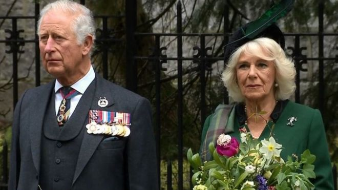 The Prince of Wales and the Duchess of Cornwall led the VE Day silence on 8 May 2020