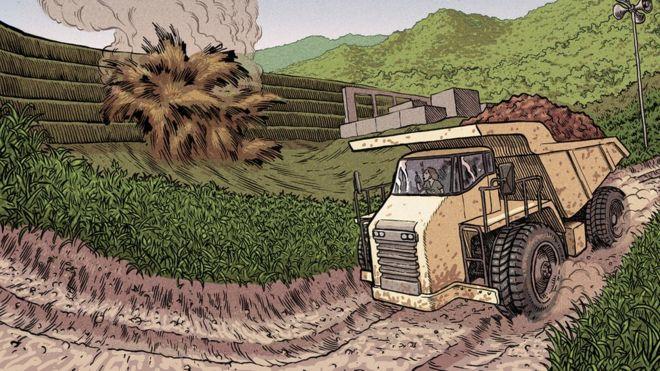 ff4dbadf303 Ilustração de um caminhão de minério trafegando por uma estrada de terra   ao lado