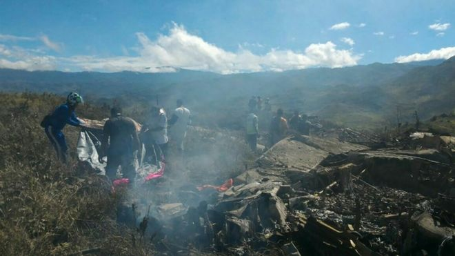 Wreckage of Indonesian air force C-130 in Papua, 18 December 2016
