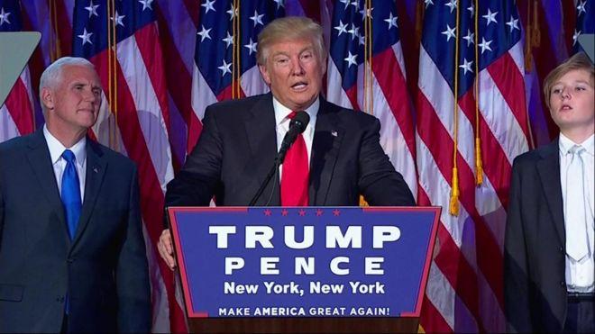 """الرئيس الأمريكي الجديد يتعهد في خطاب النصر بـ""""التعامل بنزاهة مع كل الدول""""، مضيفا، أنه سيكون رئيسا لكل الأمريكيين."""