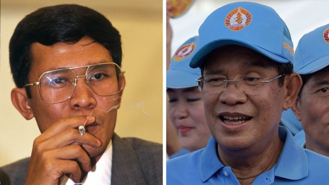 A composite picture showing Hun Sen in the late 1980s smoking a cigarette and Hun Sen at an election rally in 2018