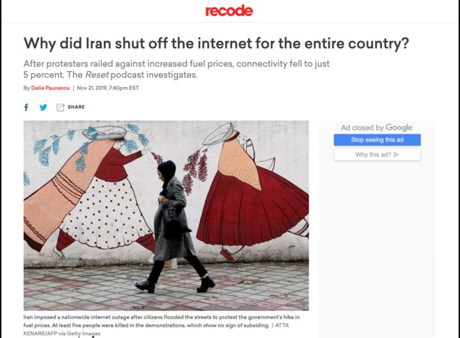 نشریه وکس در گزارشی سعی کرده دلایل قطع اینترنت در ایران را تشریح کند