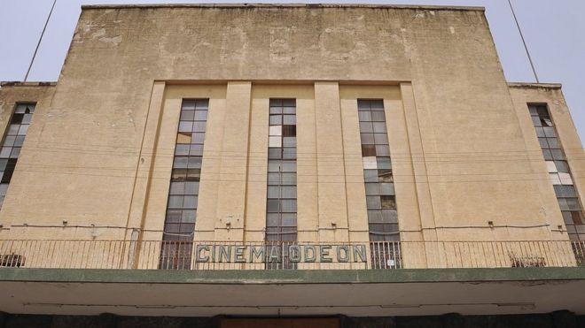 Odeon cinema facade in Asmara, Eritrea