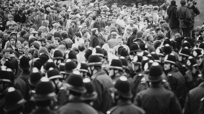 Шахтеры бастуют в Оргриве, 1984