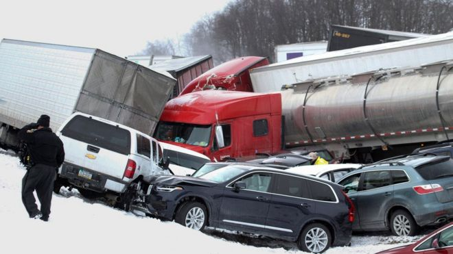 At least three dead in 50-vehicle Pennsylvania pile-up - BBC News
