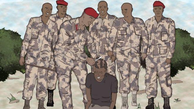 ilustração de soldados raspando cabeça de homem