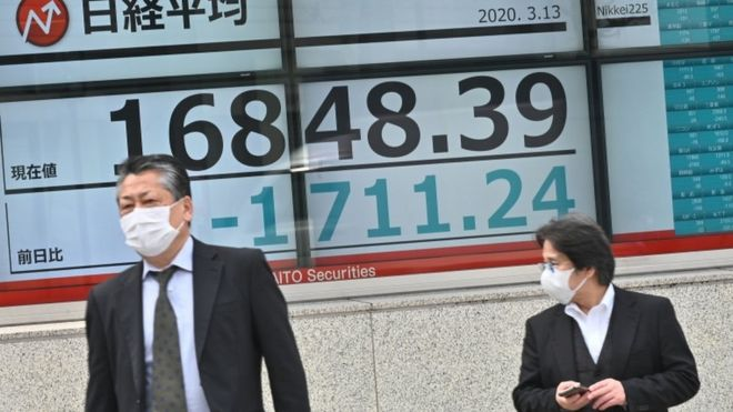 Pedestrians wearing face masks walk past an electronic board showing the numbers for the Nikkei 225 index on the Tokyo Stock Exchange in Tokyo (March 13, 2020)