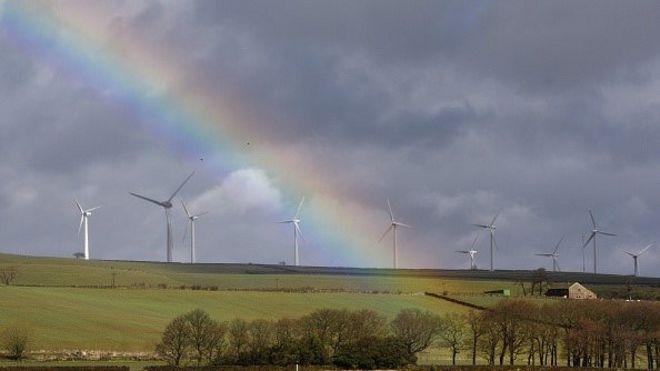 Ветровые турбины с радугой в небе