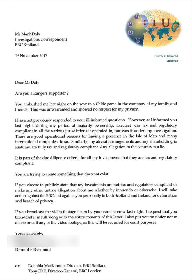 Full Dermot Desmond letter to the BBC