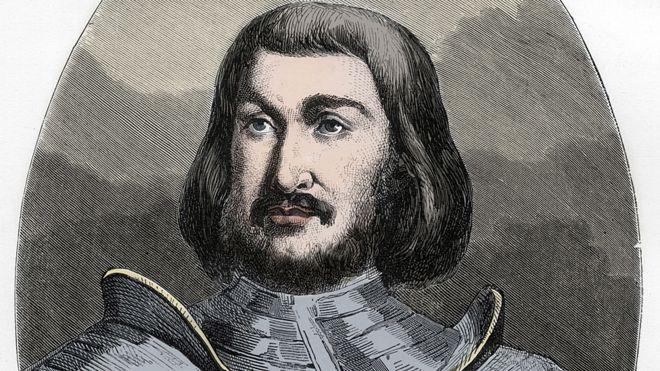 Gilles de Laval (1404-1440), Barão de Rais, como imaginado pelo ilustrador do livro 'Le Livre Rouge - Histoire De L'echafaud en France', de Dupray de La Maherie