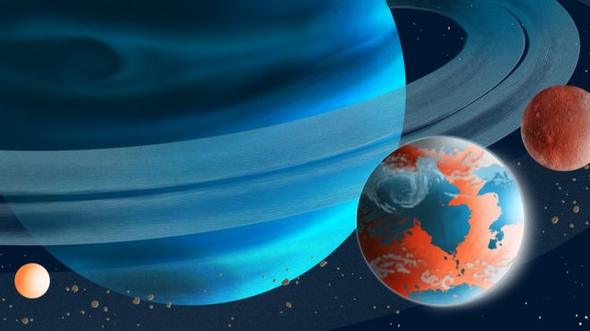 A blue gas giant with rings, two moons orbit. One looks like Earth but not. The other, Mars.