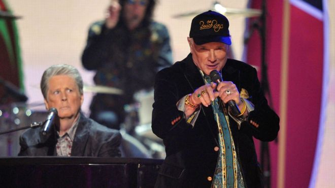 Brian Wilson (left) and Mike Love performing together in 2012