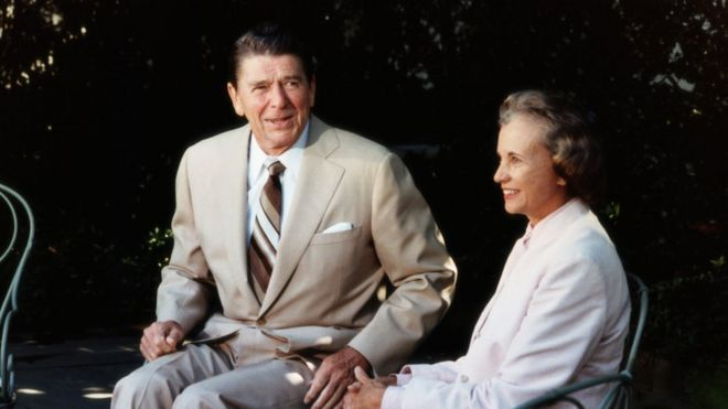 resident Ronald Reagan with Supreme Court Justice Sandra Day O'Connor. O'Connor was Reagan's first appointment to the Supreme Court and the first woman to serve on the Court, meeting on the White House Grounds.
