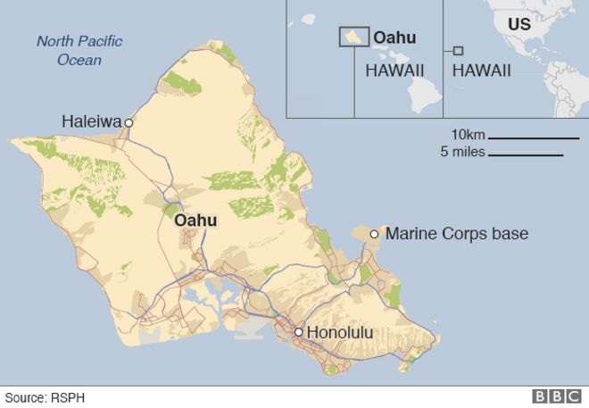 Marine Corps Base Hawaii Map.Two Us Military Helicopters Collide Near Hawaii Bbc News