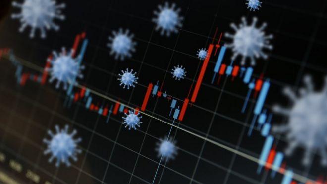Ilustração com gráficos de barra e ícones representando o coronavírus