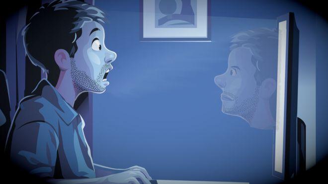 Una ilustración de un hombre que se ve a si mismo en la pantalla