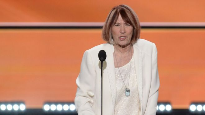 Patricia Smith, mother of Benghazi victim Sean Smith, speaks at the Republican National Convention in Cleveland, Ohio on 18 July.