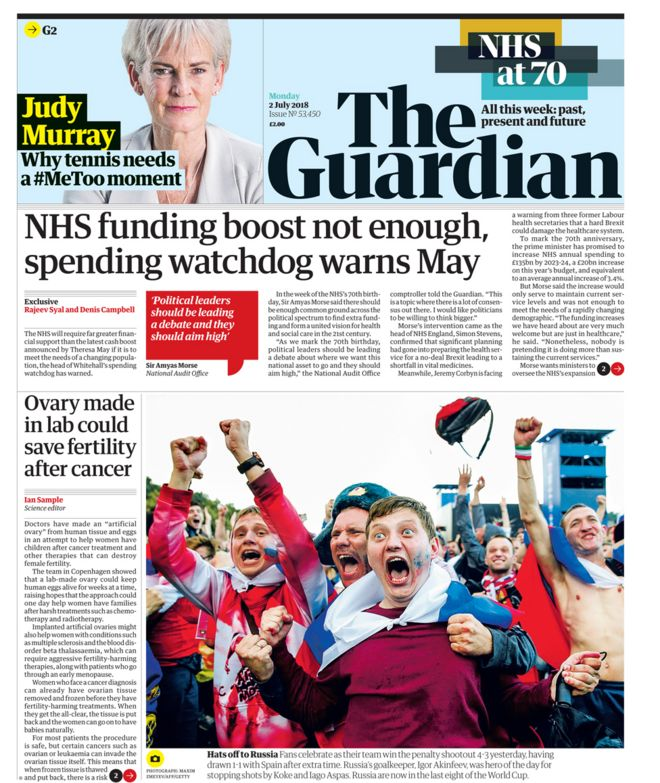Guardian front page - 02/07/18