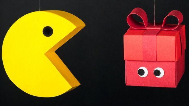 Imagem mostra jogo de videogame pacman