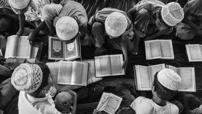 Rohingya refugees study the Koran in Cox's Bazar, Bangladesh