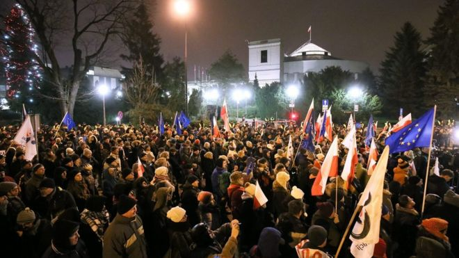 Demonstration in front of parliament in Warsaw, Poland, 17 December 2017