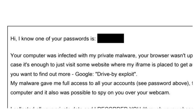 A portion of one typical email sent by the botnet