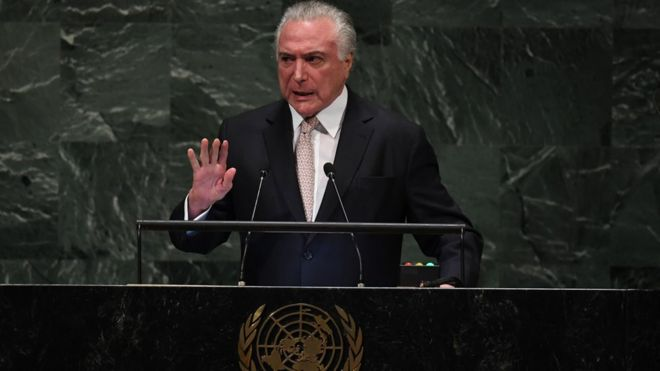 O presidente Michel Temer na ONU, nesta terça-feira