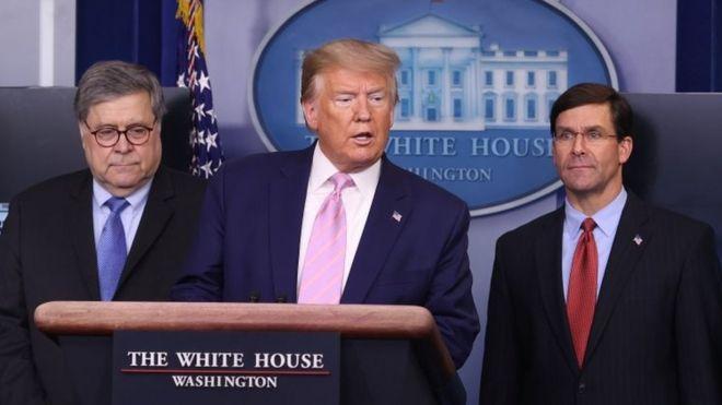William Barr, Donald Trump y Mark Esper