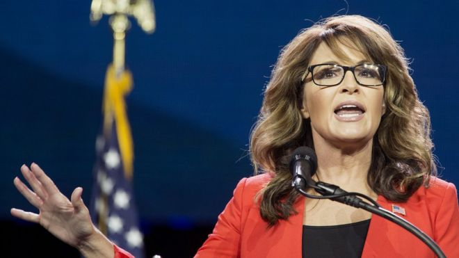 Sarah palin warns donald trump on deportation u turn bbc news sarah palin former governor of alaska speaks during the western conservative summit in denver thecheapjerseys Choice Image