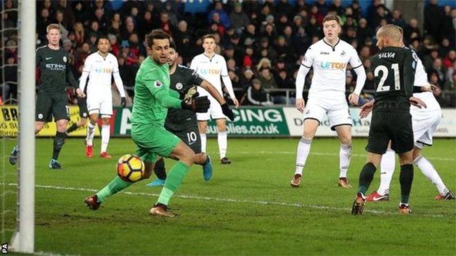 Kooxda Manchester City oo gaartay guushii 15-aad ee isxigtaka dib markii ay 4-0 kaga adkaatay Swansea